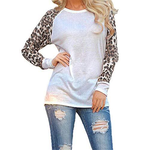 Aiserkly - Camiseta de Manga Larga para Mujer, diseño de Leopardo Blanco Blanco XXXXL