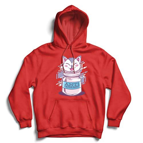 lepni.me Capuchon Sweatshirt Positieve kat antidepressiva grappige Kitten Lover Gift (M Rood Multi Color)
