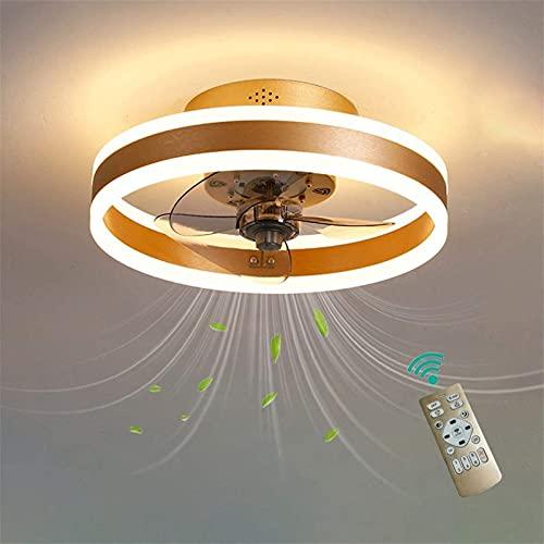 Ventiladores de techo redondos con luces y control remoto, fuente de luz LED, velocidad de viento de 3 engranajes, accesorios de bajo perfil Flush Monte, ventilador eléctrico silencioso, cuchillas inv