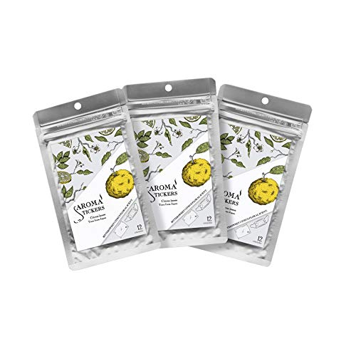 Aroma Stickers(Yuzu, Pack of 3) - 100% Natural Essential Oil Scented Mask Stickers for Face Mask & Pillow (12 Stickers/pc) -Pure Essential Oil Scented Mask Patch/Personal Aroma/Relaxing