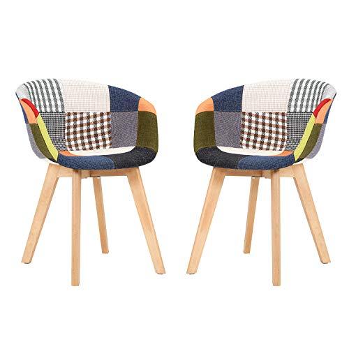 Sedie per sala da pranzo con braccioli, set di 2 sedie da cucina patchwork dal design retrò realizzate con struttura in legno massello stile moderno di base è adatto per soggiorno ristorante colorato
