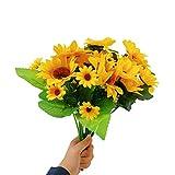 Artificial Sunflowers, 6pack Artificial Sunflower Bouquets Home & Outdoor Décor Mixed Style Faux Flower Silk Sunflowers Floral Vase Arrangements for Desktop Decoration