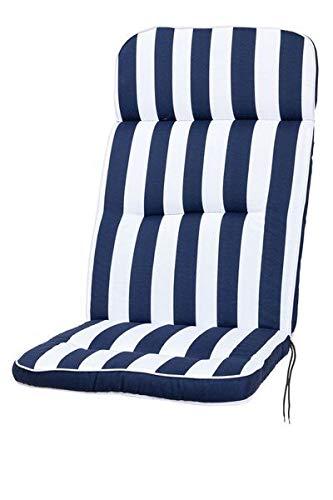 Kettler Polen KETTtex 2155 Auflage Hochlehner Alicante Blockstreifen blau-weiß Sitzpolster 120x50x7 cm