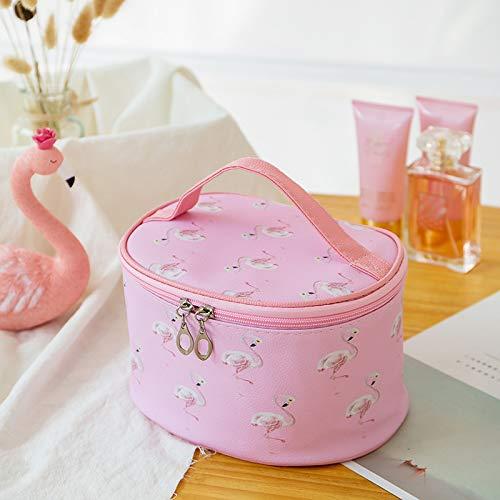 Koreansk version av kosmetisk väska rosa flamingo sminkväska söt flicka hjärta bärbar förvaringsväska tvätt pu, mjuk väska rosa
