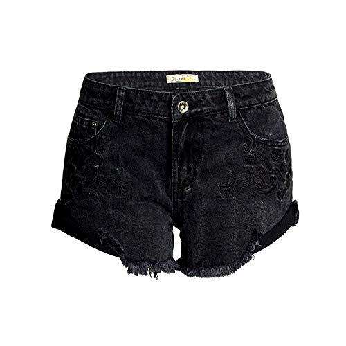Pantalones Cortos de Mezclilla para Mujer Tendencia a la Moda Personalidad Bordado Ropa de Calle Lavada Sexy...