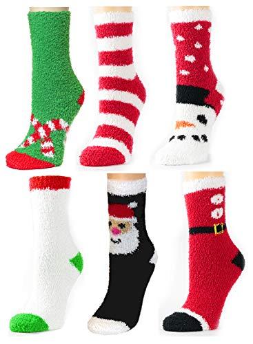 6-Pack Christmas Fuzzy Crew Socks For Girls Kids, Size 9-11 Shoe Size 4-10