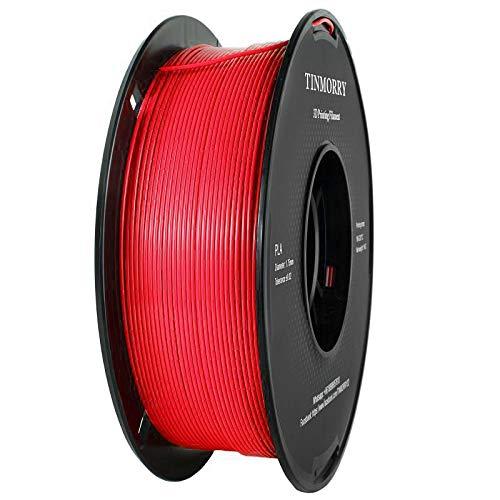 Filament 1,75 PLA Rote, TINMORRY 3D Drucker Filament, PLA Filament 1,75 mm 1 kg Spool