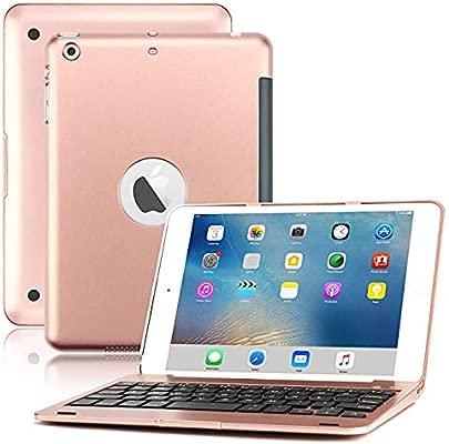 LOMQIT Tastatur H lle f r iPad Mini 1 2 3 kabellose Bluetooth-Tastaturh lle mit Klappst nder und automatischer Schlaf- Weckfunktion Rosegold Schätzpreis : 33,50 €