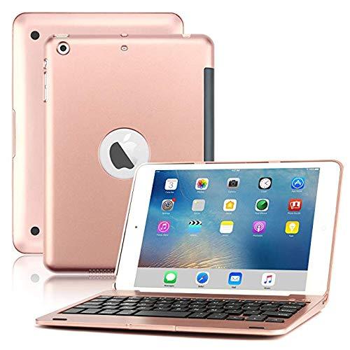 LOMQIT Funda de Teclado para iPad Mini 1/2/3, Funda Rígido de Teclado Inalámbrico Bluetooth con Soporte Plegable Y Función De Reposo/Activación Automática,Rosegold