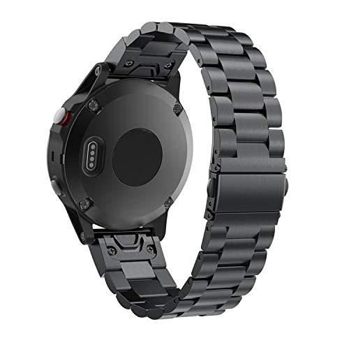 Ruentech Kompatibel mit Garmin Fenix 6 / 6s / 6X Armband Ersatz-Edelstahlband Kompatibel mit Garmin Fenix 6 / 6s / 6X Armbändern aus Metall (20mm-Fenix 6s, Black)