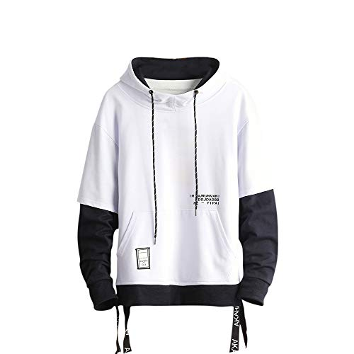 GURUNVANI Contrast Color Pullover Hoodie Mens Patchwork Hoodies Men (White, Large)