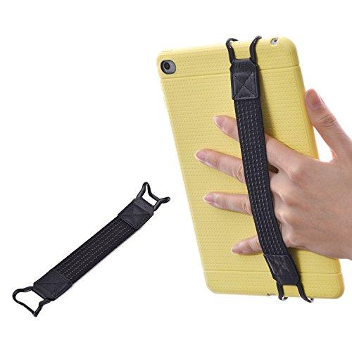 TFY Cinturino Sicurezza Mano Supporto per Tablet iPad e e-Reader - iPad (New iPad/iPad Mini & Mini 2 & Mini 3 / iPad Air/iPad Air 2 / iPad PRO 9.7') - Samsung Tablet PCS - Nexus 7 / Nexus 10 (Nero)