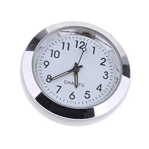 Fliyeong Hohe genauigkeit Auto armaturenbrett Uhr klassischen Tisch Mini quarzuhr Auto an Bord kleine runde Uhr, weiß langlebig und nützlich