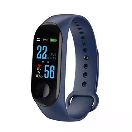 Nuevo M3 Smart Bracelect Watches for Young Man Women Sport IP67 Pulsera De La Aptitud Presión Arterial Monitor De Frecuencia Cardíaca (Color : Blue)