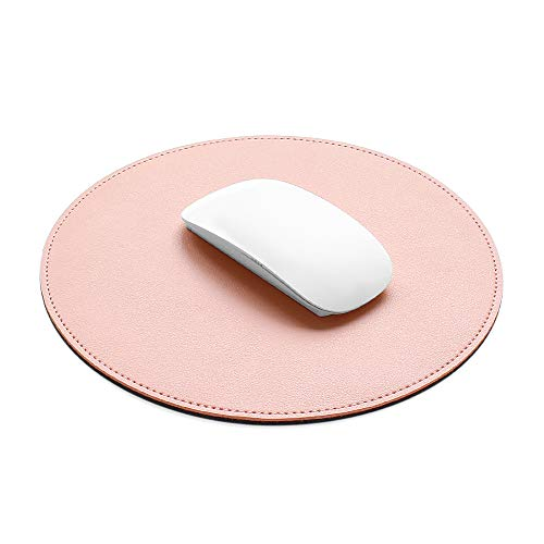 ProElife Mouse Pad for Computer Laptop Accessories, Anti Slip Cute Round Mouse Pad Waterproof PU Leather 8.66-Inch Circular Mousepad Stitched Edges Mat for Home Office School Gaming (Pink)