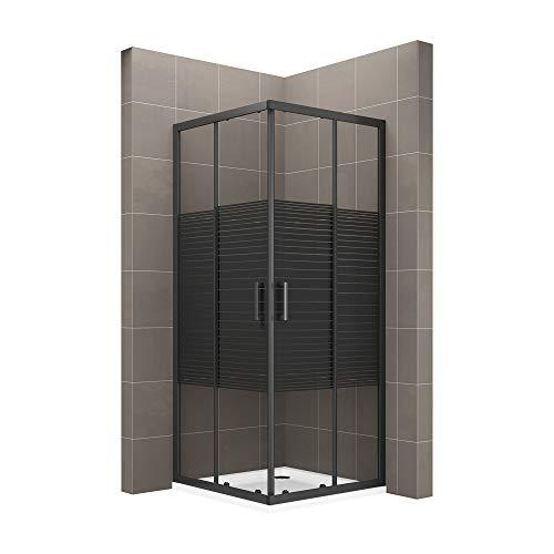 MOG Duschkabine 90x100 cm Höhe: 190 cm mit Schiebetüren Eckdusche mit Rollensystem aus 6 mm schwarz gestreiftes ESG Glas DK67