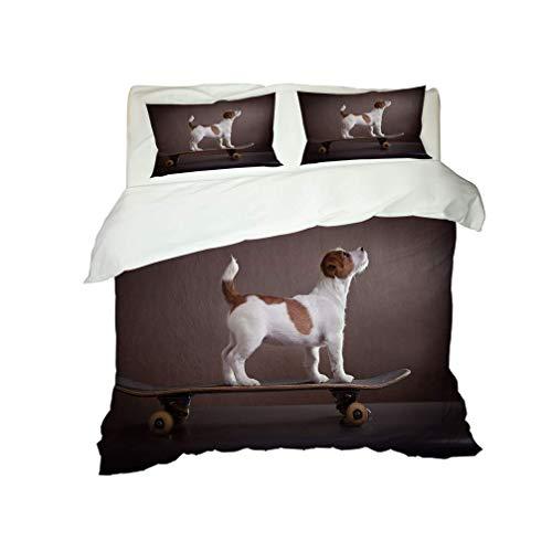 3D Animal Dog Cat Bedding set Lovely Pet Pug Bulldog Black White Gray Yellow Blue Duvet Cover and Pillowcase Microfiber Child Boy Girl Quilt Cover With Zipper (Style 3,Single 135x200 cm)