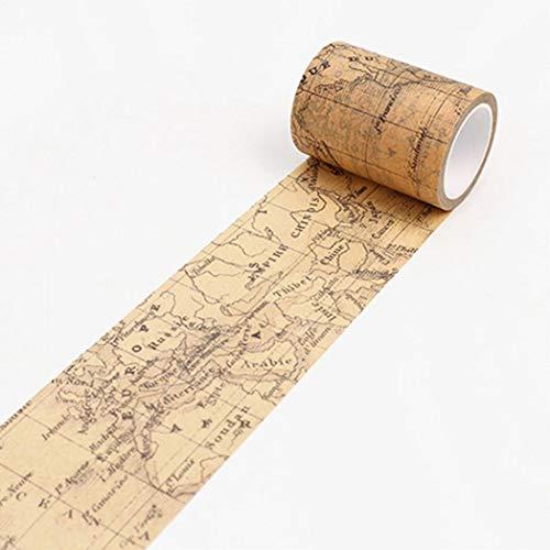 litty089 Vintage Washi Tape Decoratief Papier Masking Tape DIY Zelfklevende Scrapbook Sticker - Nederlands World Map Wereldkaart