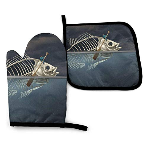 Pag Crane Mann mit Fischskelett im Meer Kajak-Ofenhandschuhe und Topflappen-Sets Matten Hitzebeständige Ofenhandschuhe Grillen (2-teiliges Set)