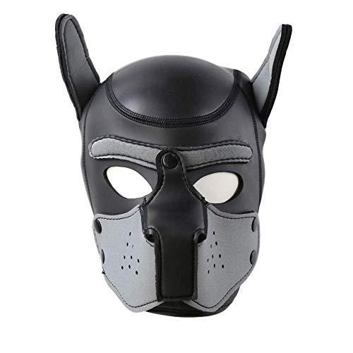 TIKENBST Puppy Hood Leder Hundekopf Masken Helm Abnehmbarer Mund Kostüm Party Requisiten Mit Neopren Puppy Hood Benutzerdefinierte Tierkopfmaske,B