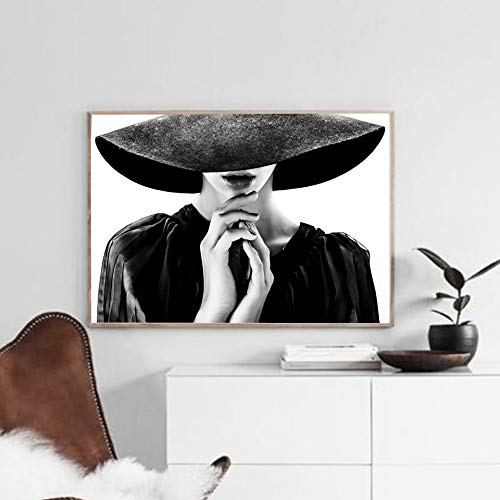 40x50cm Geen frame Zwart-wit meisje mode canvas canvas schilderij posters en prints parfum tekst kunst aan de muur fotos