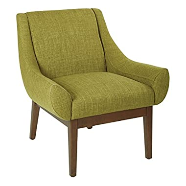AVE SIX Couper Accent Chair with Coffee Legs, Green Fabric