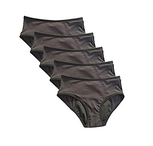 4period 5 Pack High Absorbency for Heavy Flow Period Panties; Leakproof, for Teens and Women (Medium) Solid Black