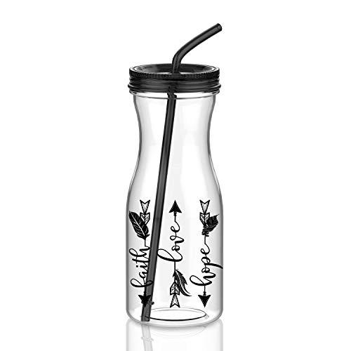 Artoid Mode Motivations-Becher mit Strohhalm, Pfeil Glaube, Hoffnung, Pfeil, spülmaschinenfest, Tritan, Trinkbecher mit Drehdeckel, BPA-frei schwarz
