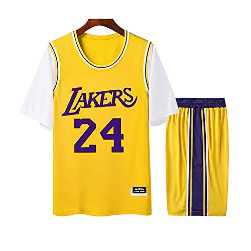Bryant Lakers #24 Herren Damen Atmungsaktiv Basketball Trikot Rundhals Fake Zweiteiler Kurzarm Jersey T-Shirt 2er Set (S-4XL) 3XL weiß