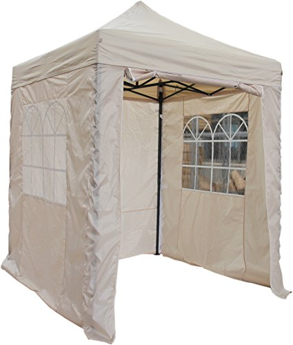 All Seasons Gazebos, Choice Of 5 Colours, 2x2m Heavy Duty, Fully Waterproof, Premium Pop Up Gazebo With 4 x Zip Up Side Panels, Carry Bag With Wheels and 4 x leg weight bags (Beige)