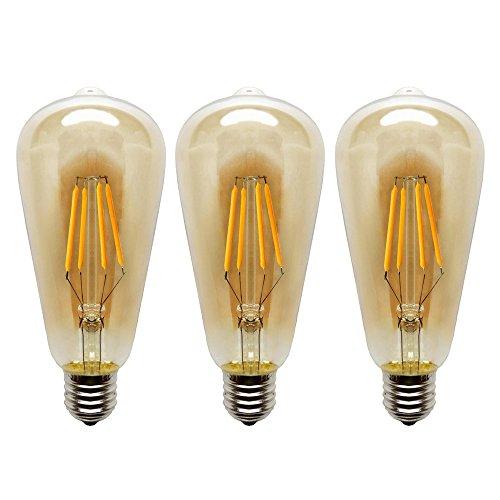 KJLARS 4W E27 ST64 Edison Vintage LED Filament Bulb, Warm White 2200K LED Light Bulb (3 Pack)