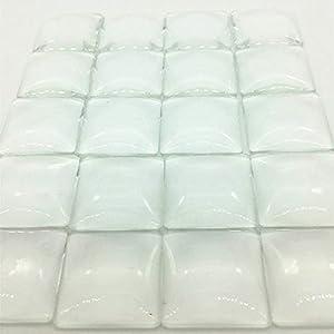 "IGOGO 50 PCS Clear Glass Dome Tile Cabochon Clear 25x25mm 1"" Non-calibrated Square - For Photo Pendants Mosaics Trays"