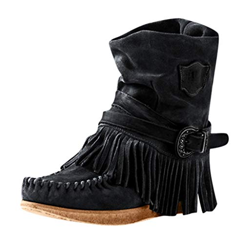 Amazing Deal FengGa Women's Fashion Casual Round Toe Rome Retro Fringe Short Ankle Boots Flat Shoes ...