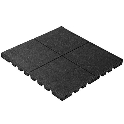 KIDWISE PlayFall Playground Safety Surfacing Black - 2' x 2' Rubber Tile (4 sq. ft.) 1.75' Thickness
