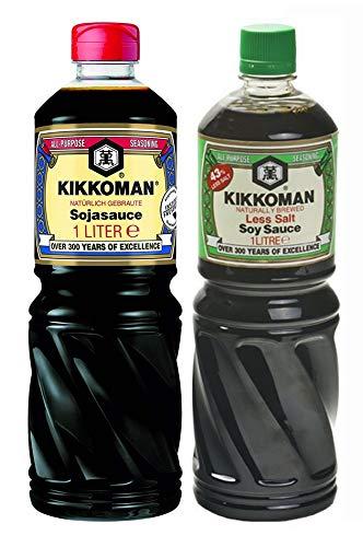 Salsa di soia Kikkoman - 1000 ml / 1 litro - 43% di sale in meno + salsa di soia Kikkoman - 100 ml / 1 litro