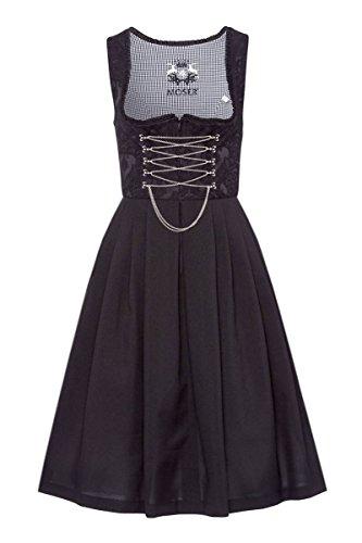 Edelheiss Moser Trachten Polyester Mini Dirndl 60er Gastro schwarz Amy 129410, Rocklänge: ca. 60cm, mit Reißverschluss, Größe 38