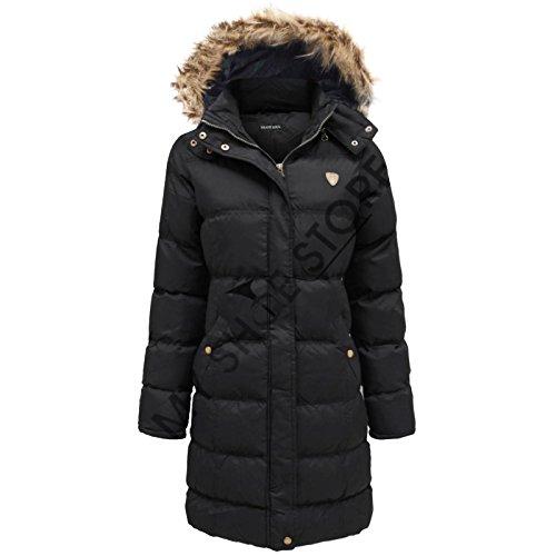 Dappere ziel Envy Boutique dames dames bont capuchon gewatteerde gevoerde Puffer lange Parka jas
