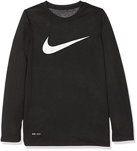 NIKE Dry Swoosh Solid - Camiseta de Manga Larga para niño, Niñas, 819836-010, Blanco y Negro, Medium