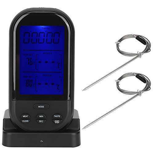 トルコの喫煙者オーブンキッチンをグリルするためのワイヤレスバーベキュー肉温度計、デュアルプローブ付きデジタル調理食品グリル温度計(ブラック)