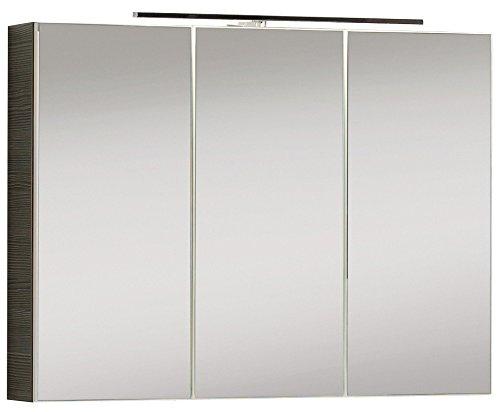 FACKELMANN Spiegelschrank VADEA/Badschrank mit 3D Effekt/Soft-Close-System/Maße (B x H x T): ca. 90 x 68 x 16 cm/Schrank fürs Bad mit Spiegel & LED-Beleuchtung / 3 Türen/Korpus: Schwarz