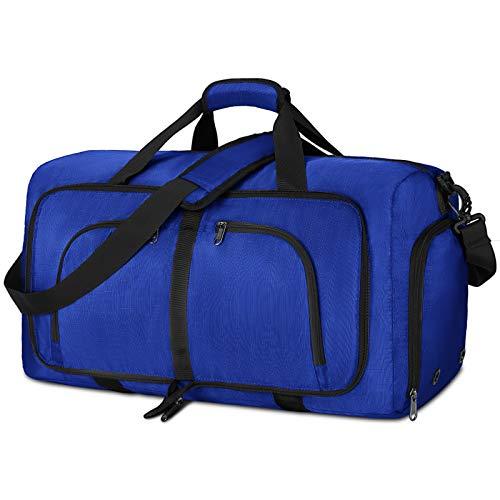 NEWHEY Faltbar Reisetasche Groß 40L 65L 80L Sporttasche Herren Damen mit Schuhfach Leichter Weekender Übernachtung Tasche für Reisen Gym Duffel (Blau, 80L)