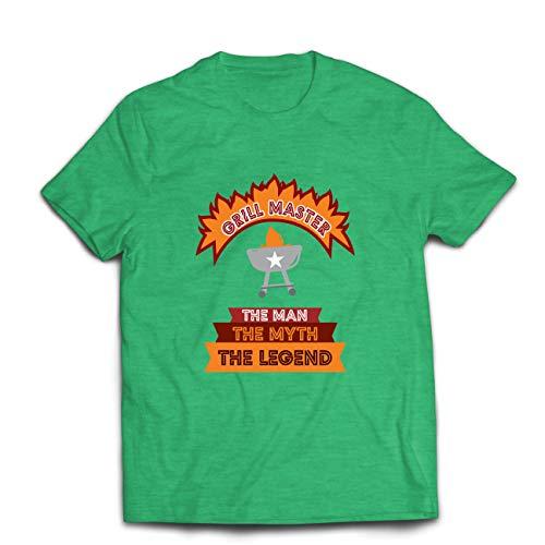 lepni.me Camisetas Hombre Maestro de la Parrilla, Chef de la Barbacoa, Divertidas Ideas de Regalos para barbacoas. (XX-Large Brezo Verde Multicolor)