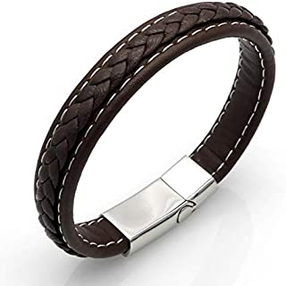Brown Leather Bracelet Men Bangle With Stainless Steel Lock