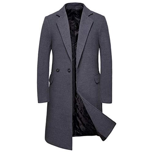 Flyshow - Herren Mantel Wollmantel - Winterjacke Long Blaze Business Überzieher,Herren Casual Trenchcoat Fashion Business Long Slim Overcoat Jacket Outwear