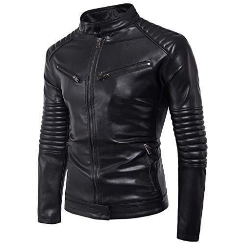 RYTEJFES Herren Bikerjacke Slim Fit Bomberjacke Mode Casual Jacke Jacket Outdoor Warm Sweatshirt Einfarbig Weinlese Motorradjacke Steppjacke