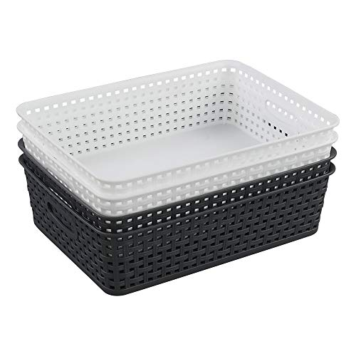 Vcansay Plastic A4 File Letter Organizer Basket Tray 4 Packs