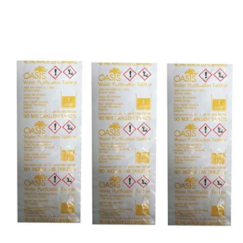Oasis 30x Wasserreinigungstabletten fur 1 Liter Trinkwasser pro Tablette + LevinQ Handschuhe, Water Purification, Chlortablet, Wasserentkeimung