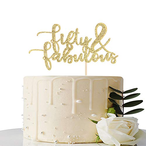 Gold Glitter Fifty & Fabulous Cake Topper - 50th Birthday / 50th Anniversary Cake Decoration