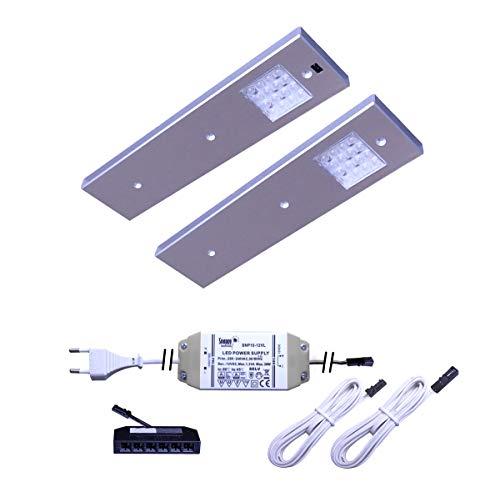 LED Unterbauleuchte Angelo 2er-5er Set Küchen- und Vitrinenleuchte Vitrinenlampe mit Bewegungssensor neutralweiß Anbauleuchte Anbaulampe Beleuchtung Küchenleuchte Küchenlampe Unterbaulampe Unterbau (2er Set)