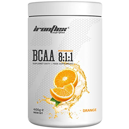 IronFlex BCAA 8:1:1-1 Pack - Branched Chain Amino Acids in Powder - Muscle Regeneration - Anticatabolic (Orange, 400g)